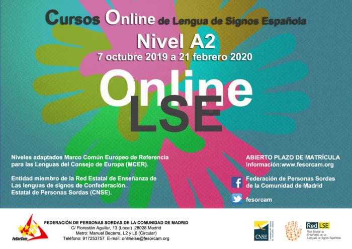 cartel del curso ONLINE de Lengua de Signos Española A2